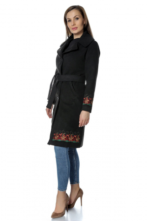Palton negru dama din stofa cu broderie florala PF351
