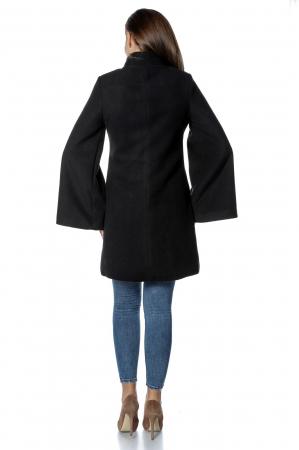 Palton negru dama din stofa cu broderie traditionala PF322