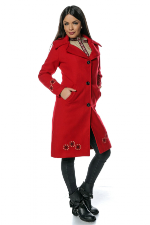Palton rosu dama din stofa cu broderie traditionala PF410