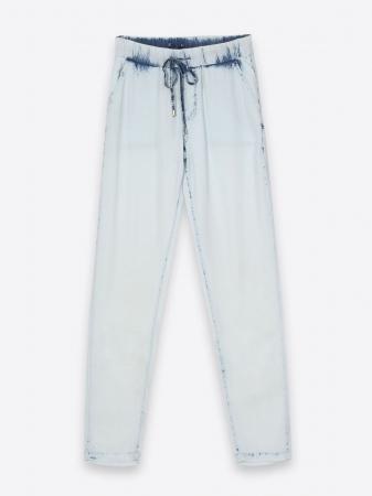 Pantaloni casual din denim prespalat cu buzunare4