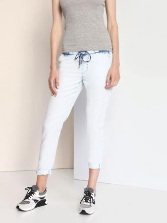 Pantaloni casual din denim prespalat cu buzunare3