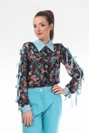 Pantaloni conici dama din stofa turcoaz