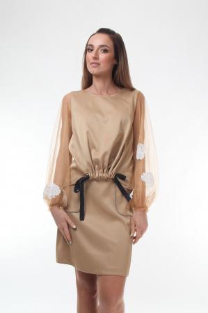 Bluza eleganta bej cu maneci lungi transparente din tulle fin [0]