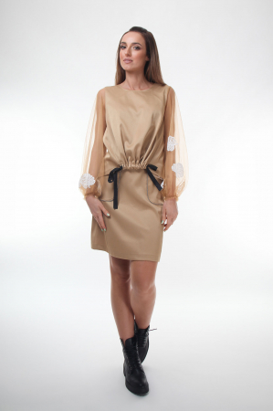 Bluza eleganta bej cu maneci lungi transparente din tulle fin [2]