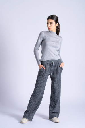 Pantaloni lungi din tricot Wide Leg Grey0