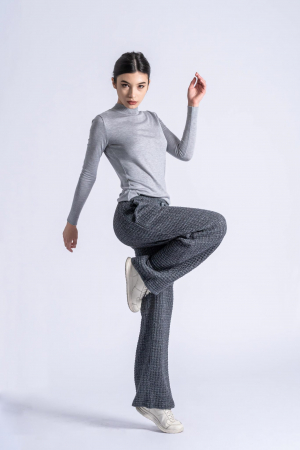 Pantaloni lungi din tricot Wide Leg Grey1