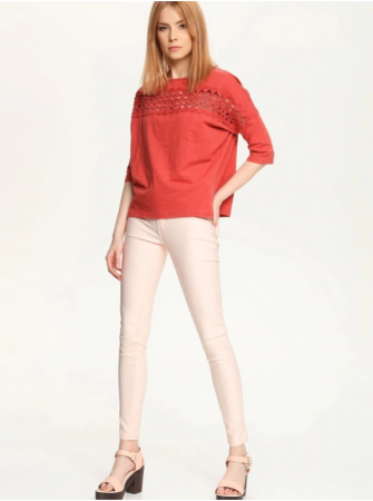Pantaloni elastici skinny roz cu aspect sidefat, 42 [0]