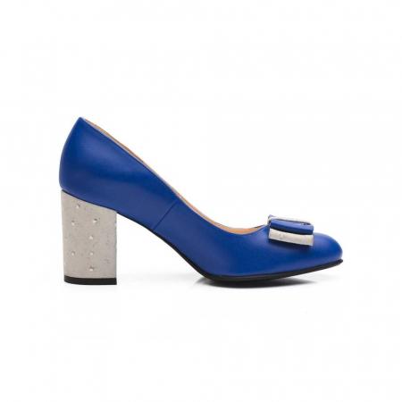 Pantofi cu toc gros albastri din piele si funda decorativa, 39 [1]
