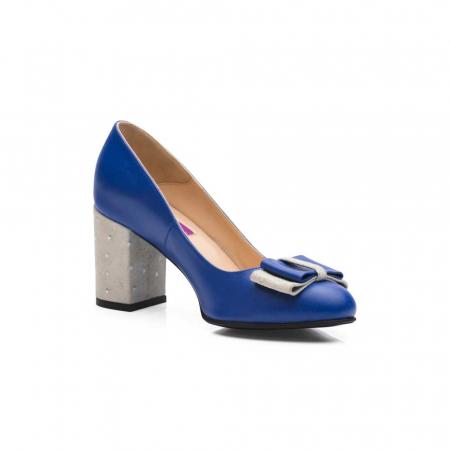 Pantofi cu toc gros albastri din piele si funda decorativa, 39 [2]