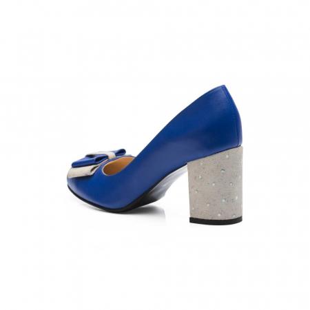 Pantofi cu toc gros albastri din piele si funda decorativa, 39 [3]