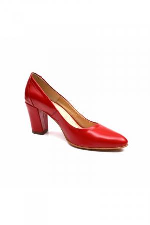 Pantofi cu toc gros din piele naturala Red Wish1