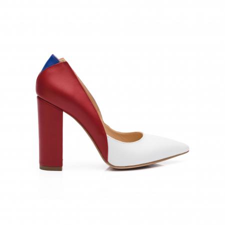 Pantofi din piele naturala in trei culori cu toc gros CA570