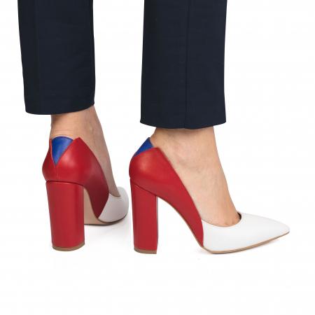 Pantofi din piele naturala in trei culori cu toc gros CA571