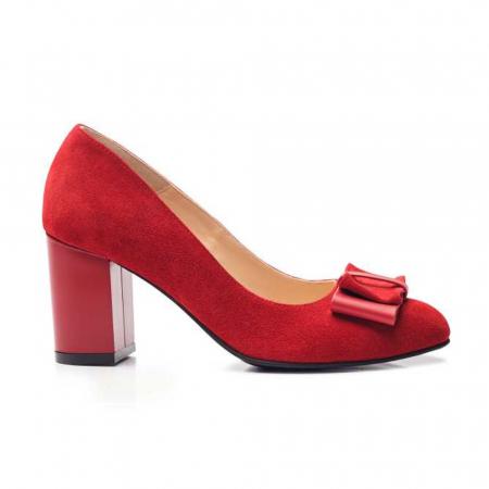 Pantofi cu toc gros rosii din piele si funda decorativa1