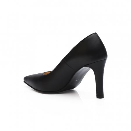 Pantofi stiletto negri cu toc mediu din piele naturala [3]