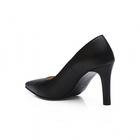 Pantofi stiletto negri cu toc mediu din piele naturala CA23, 403