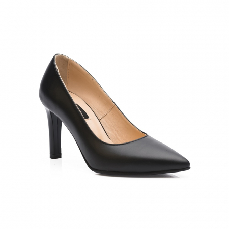 Pantofi stiletto negri cu toc mediu din piele naturala CA23, 402