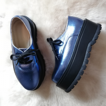 Pantofi dama cu platforma Metal Blue, 364