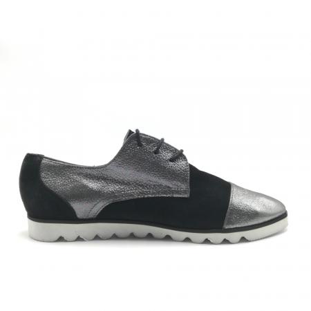 Pantofi dama cu talpa joasa negru cu argintiu din piele naturala2