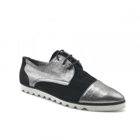 Pantofi dama cu talpa joasa negru cu argintiu din piele naturala1