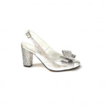 Pantofi dama cu toc glitter Silver Bow din piele naturala0