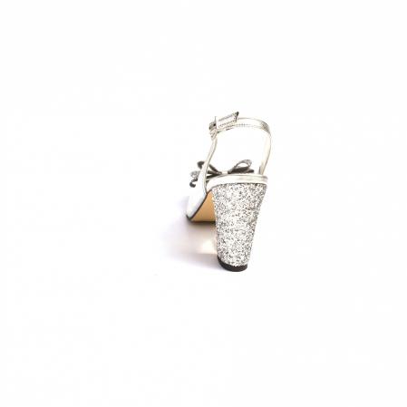 Pantofi dama cu toc glitter Silver Bow din piele naturala3