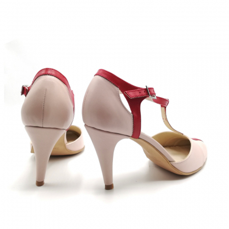 Pantofi dama cu toc subtire Pink Strap din piele naturala4