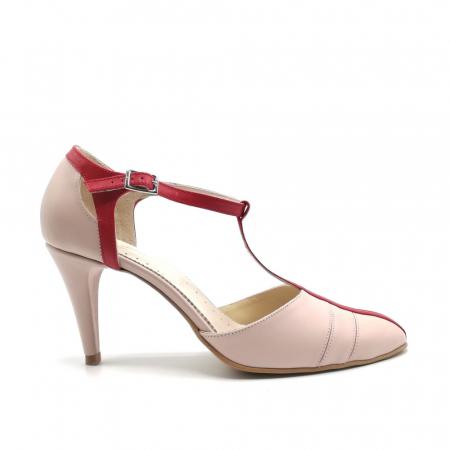 Pantofi dama cu toc subtire Pink Strap din piele naturala0