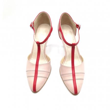 Pantofi dama cu toc subtire Pink Strap din piele naturala2