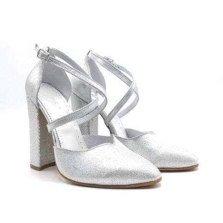 Pantofi dama cu toc gros Silver Sequins din piele naturala1