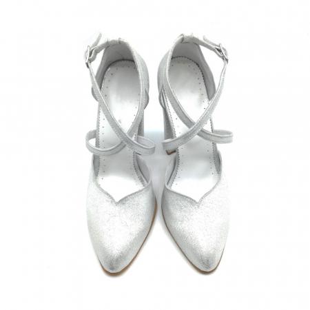 Pantofi dama cu toc gros Silver Sequins din piele naturala2
