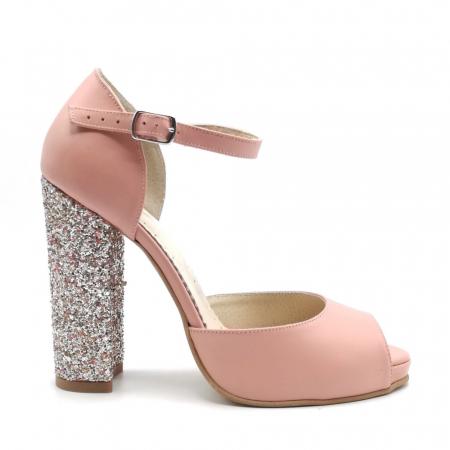 Sandale dama cu toc gros Pink Glitter din piele naturala0