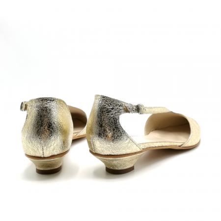 Pantofi dama cu toc jos Gold Texture din piele naturala5