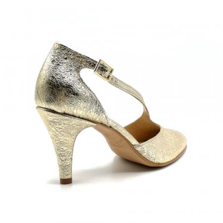 Pantofi dama cu toc Gold Texture din piele naturala2