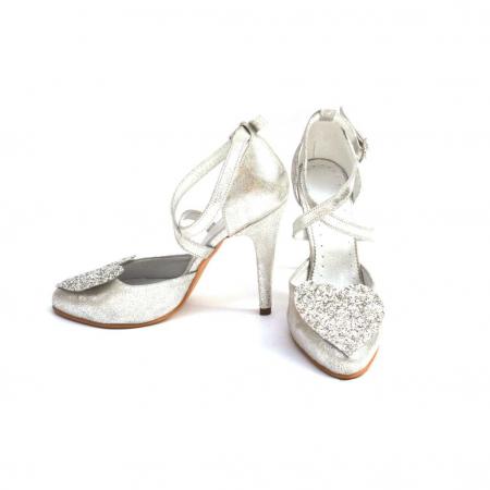 Pantofi dama cu toc Silver Heart din piele naturala1