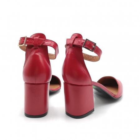 Pantofi dama cu toc gros Stylish Red din piele naturala3
