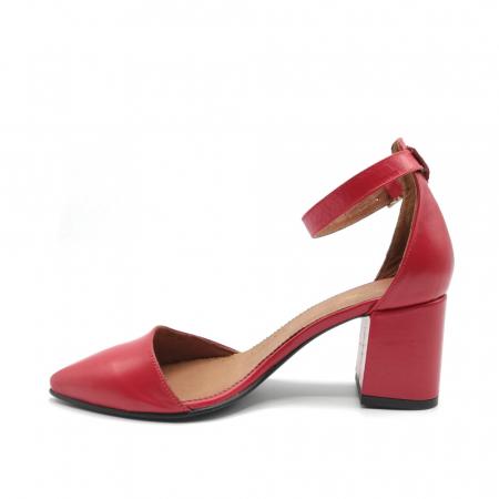 Pantofi dama cu toc gros Stylish Red din piele naturala2
