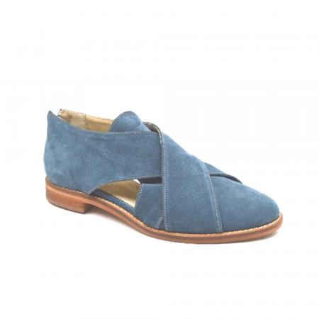 Pantofi dama din piele intoarsa Cross Blue1