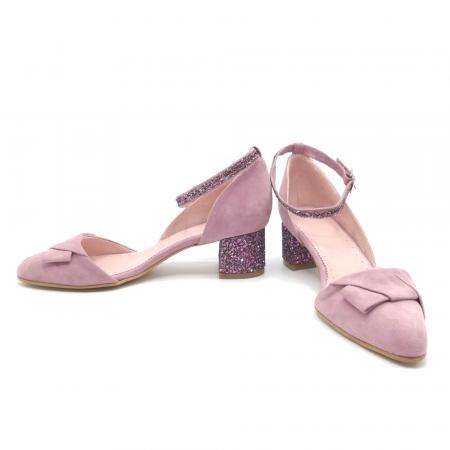 Pantofi dama din piele intoarsa cu toc jos Purple Glitter3