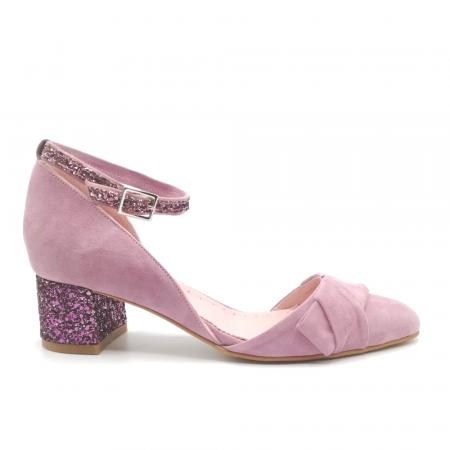 Pantofi dama din piele intoarsa cu toc jos Purple Glitter0