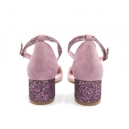 Pantofi dama din piele intoarsa cu toc jos Purple Glitter2
