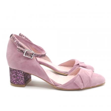 Pantofi dama din piele intoarsa cu toc jos Purple Glitter1