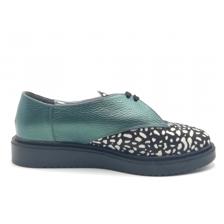 Pantofi dama din piele naturala verde cu ponei White Dots2