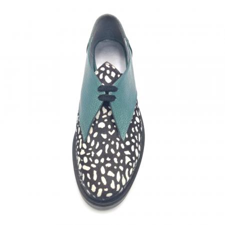 Pantofi dama din piele naturala verde cu ponei White Dots3