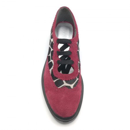 Pantofi dama din piele naturala grena cu ponei animal print3