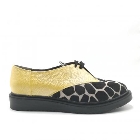 Pantofi dama din piele naturala galbeni cu ponei animal print0