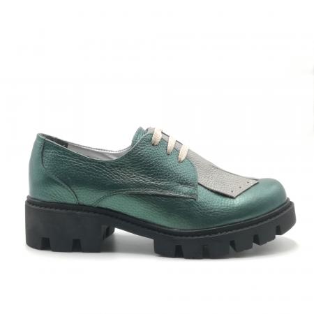 Pantofi dama din piele naturala verde metalizat cu accesoriu franjuri0