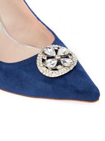 Pantofi stiletto din piele intoarsa Sara Blue2