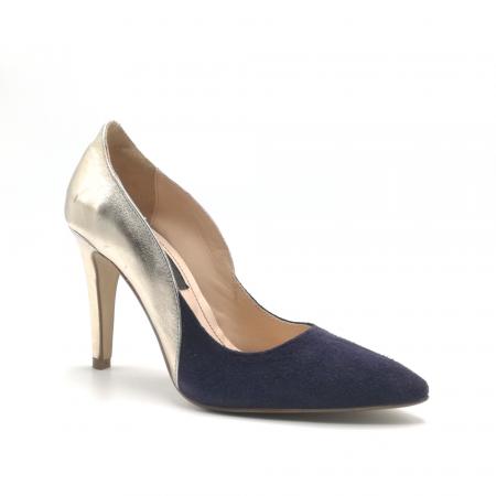 Pantofi stiletto din piele naturala Gold Navy velvet1