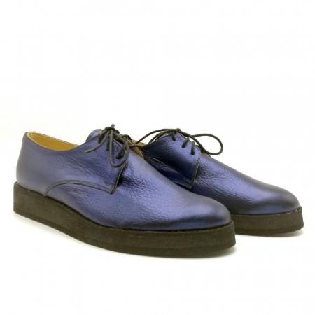 Pantofi dama Oxford din piele naturala Metal Blue1
